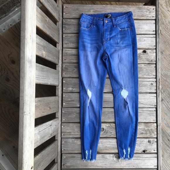 Fashion Nova Distressed Raw Hem Skinny Jeans